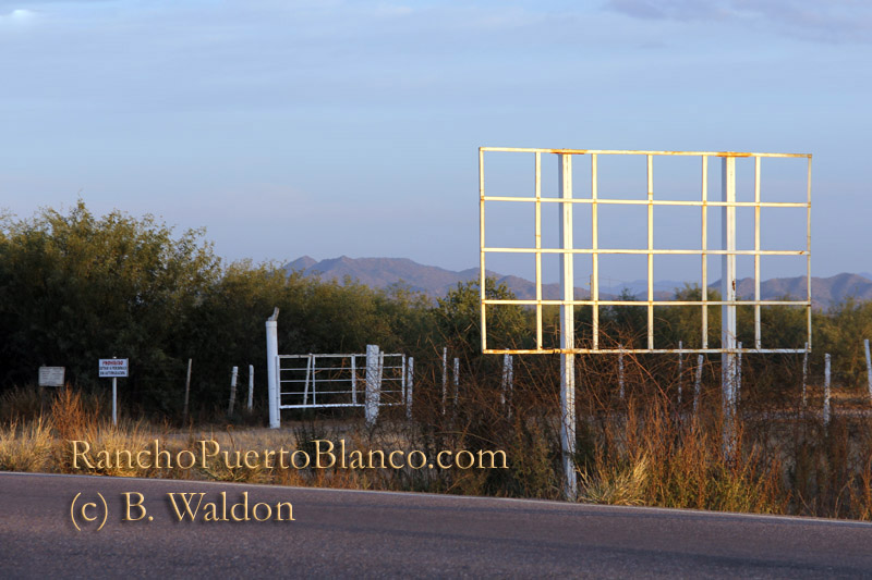 Watch for the billboard frame just west of the ranch entrance
